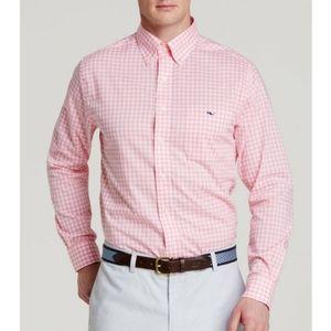 Vineyard Vines Pink Seascape Gingham Tucker Shirt